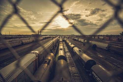Rail Yards At Sunset Photo
