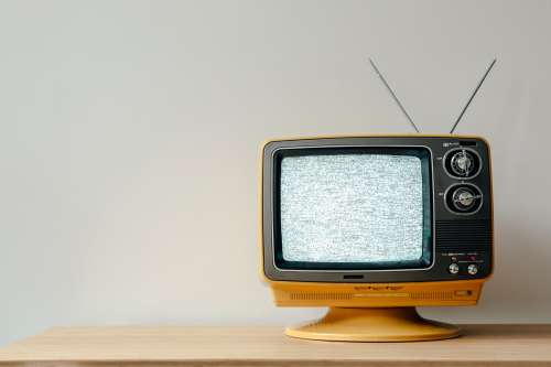Retro TV With Static On-Screen Photo