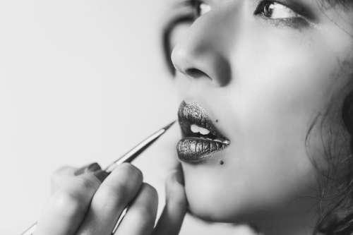 Shiny Lipstick In Black And White Photo