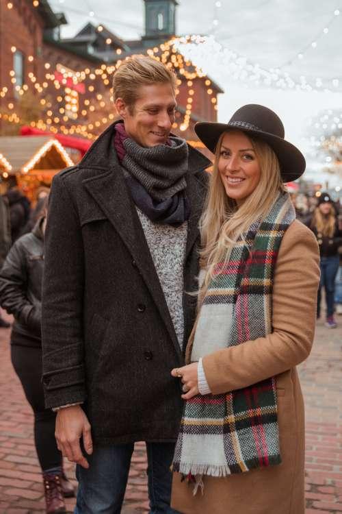 Smiling Couple Holiday Market Photo