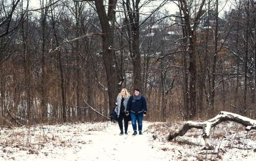 Smiling Snow Walk Photo