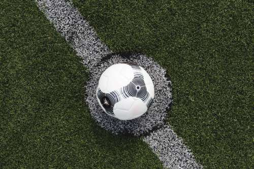 Soccer Ball Lined Up For Kick Photo