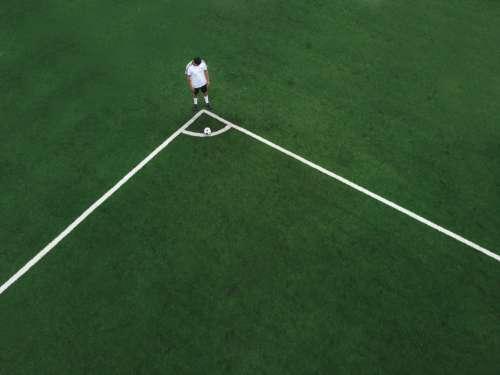Soccer Player Ready To Take Corner Kick Photo