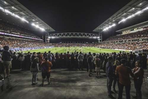 Soccer Stadium At Night Photo