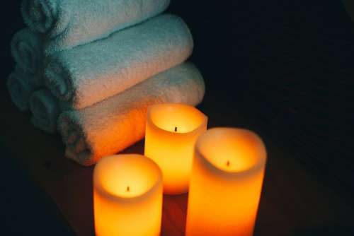 Spa Candles Towels Photo