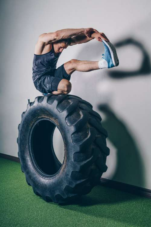 Stretching On Tire Photo