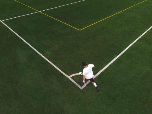 Striker About To Kick A Corner Photo