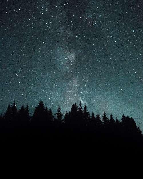 Teal Starry Night Sky Photo