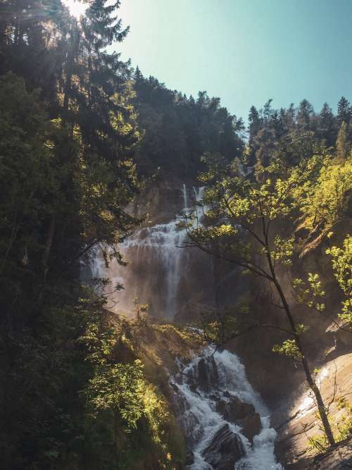 Tiered Waterfall On Clear Summer Day Photo