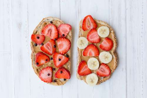 Toast With Peanut Butter And Fruit Photo