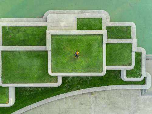Urban Green Roof Drone Portrait Photo