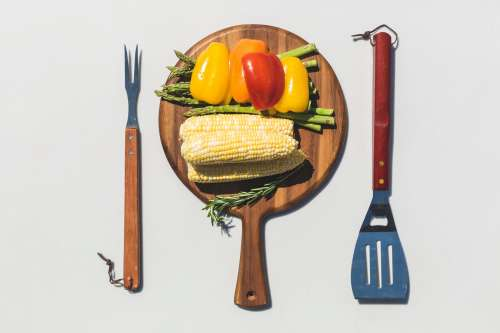 Veggies Cutting Board Grill Tools Photo