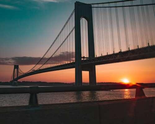 Verrazano Narrows Suspension Bridge Sunset Photo