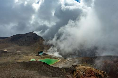 Volcanic Hills And Green Pools Photo