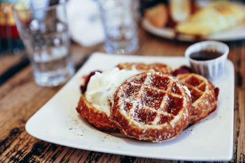 Waffles With Whipped Cream Photo