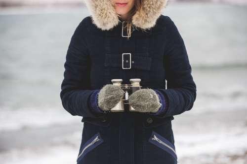 Winter Woman With Binoculars Photo