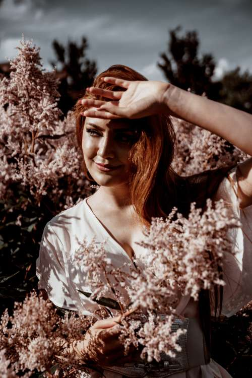 Woman In Flower Blossoms Photo