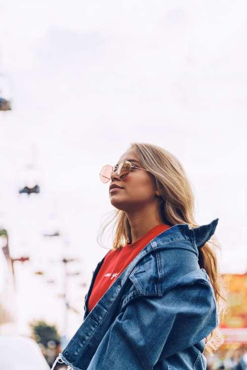 Woman In Jean Jacket Photo
