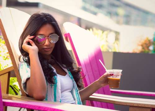 Woman In Summer Sunglasses And Fashion Photo