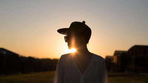 Woman Silhouette Sunset Photo