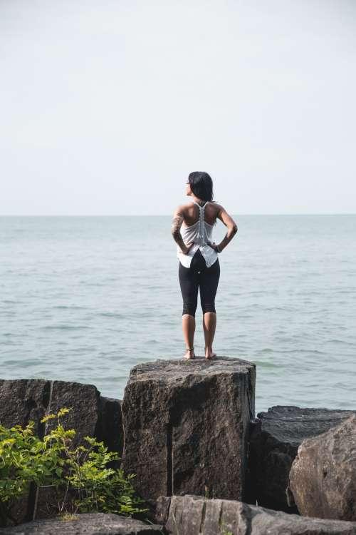 Woman Takes In Ocean Air Photo