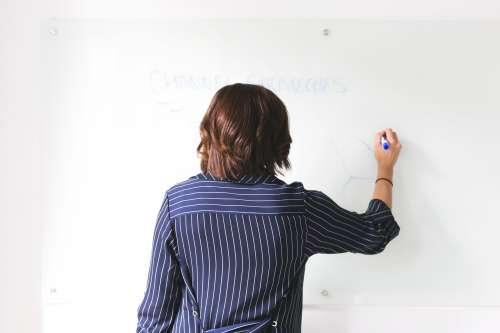 Woman Uses Whiteboard In Office Photo