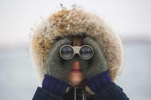Woman With Binoculars Photo