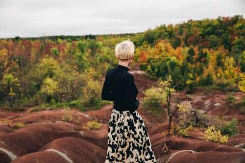 Womens Fall Fashion Skirt In Autumn Landscape Photo