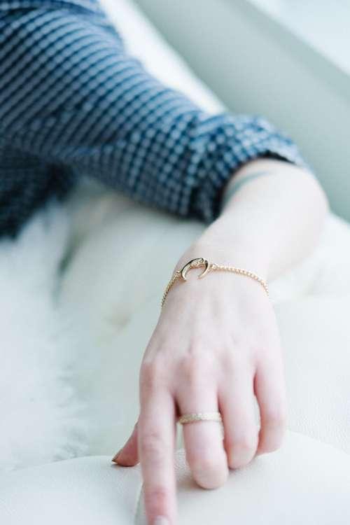 Moon Bracelet on Women's Hand Photo