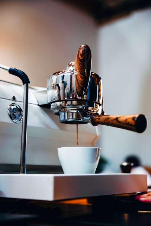 Wood Handled Espresso Machine Photo