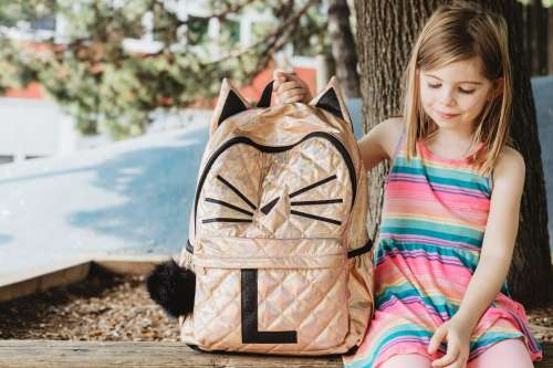 Young Girl With New Backpack For School Photo
