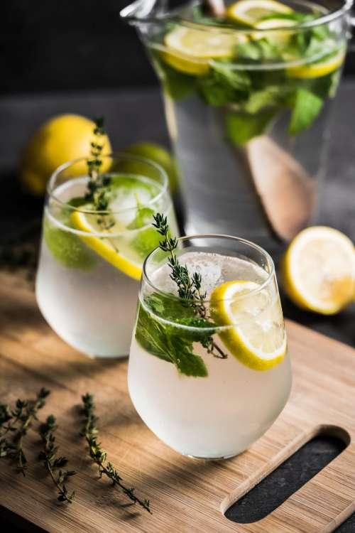 Fresh lemonade with herbs