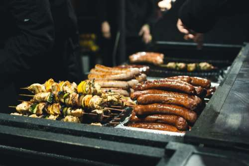 Grilled sausages and skewers