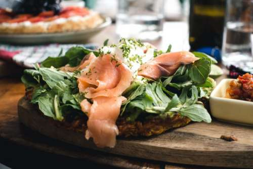 Healthy smoked salmon sandwich