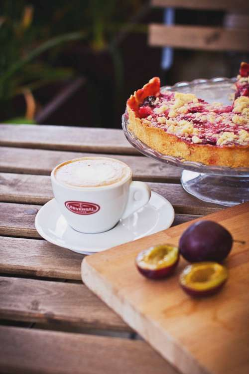 Pie, coffee & plums