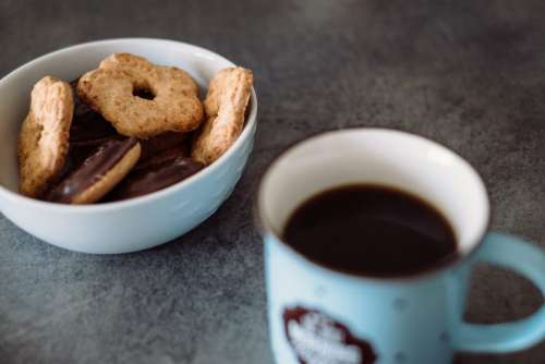 Biscuits and black coffee