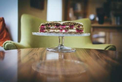 Cake cut in half