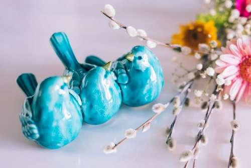Ceramic birds and Easter palm