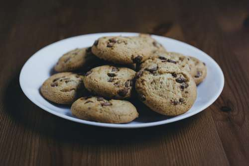 Chocolate chip cookies on a plate 2