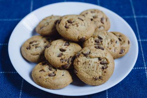 Chocolate chip cookies on a plate 3