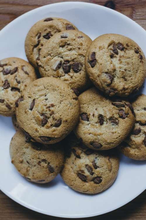 Chocolate chip cookies on a plate 5