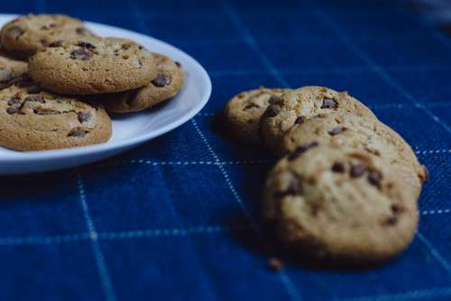 Chocolate chip cookies on a plate 6