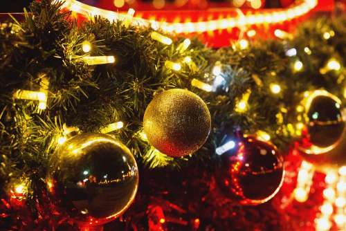 Christmas baubles outdoors