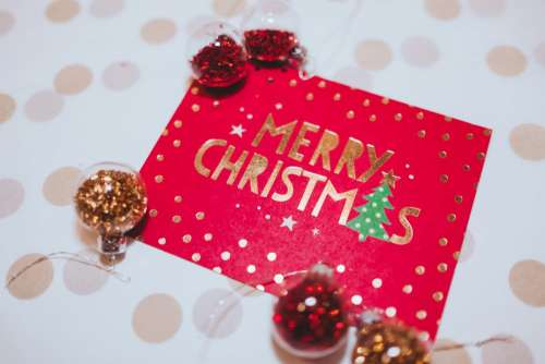 Christmas card and mini baubles
