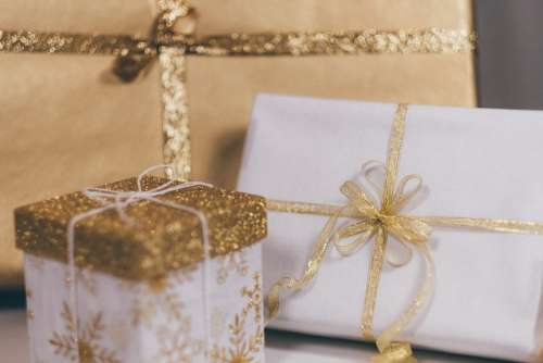 Christmas gifts in gold