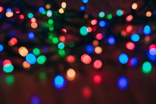 Colorful Christmas lights bokeh