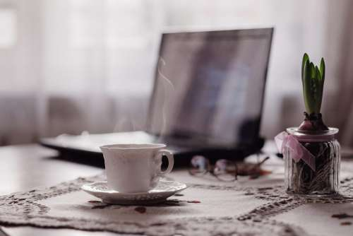 Cup of coffee, flower and laptop