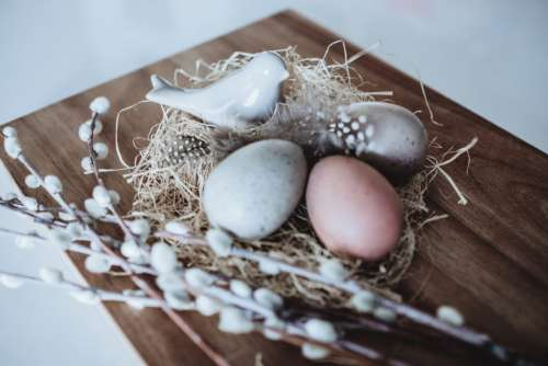 Easter eggs and ceramic bird 3