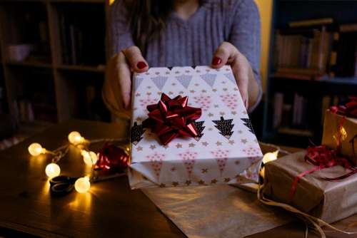 A female holding a christmas gift 3