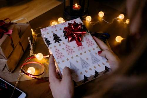 A female holding a christmas gift 6